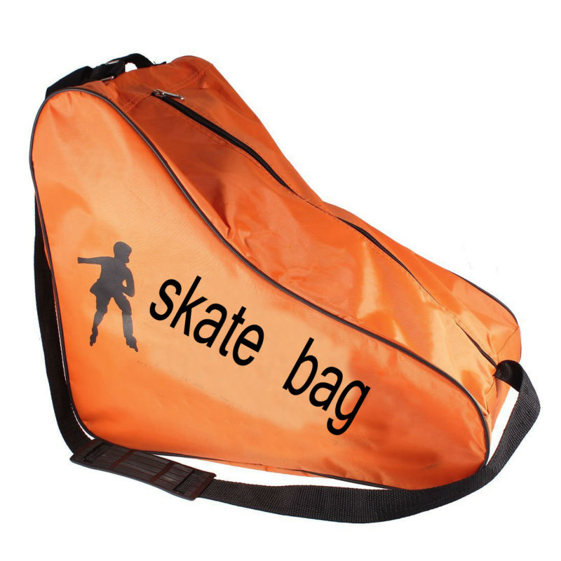 Orange Nylon Triangle Shaped Zippered Roller Skating Shoes Bag Pouch