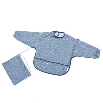 reusable waterproof polyester baby feeding bib with long sleeve
