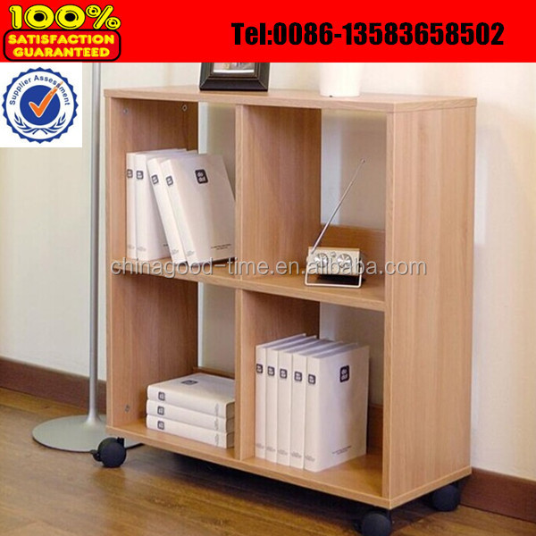 Cheap Wooden Movable Bookshelf With Wheels