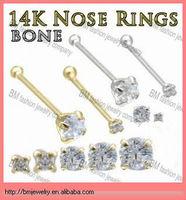 14K gold nose stud bone ring body piercing jewelry