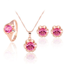 fashion pink stone necklace set women necklace earring set wholesale