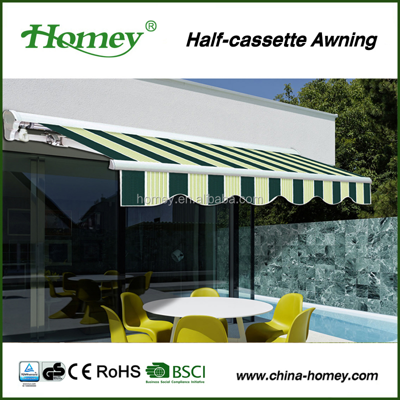half cassette aluminum awning sun and rain protection in window and door