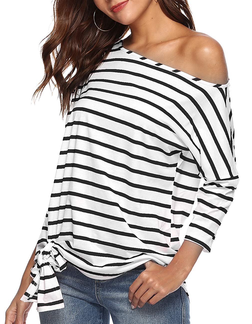 f18bb0af4c3 Get Quotations · Defal Womens Sexy Oblique Off Shoulder 3/4 Sleeve Colorful  Striped Tunic T-Shirt