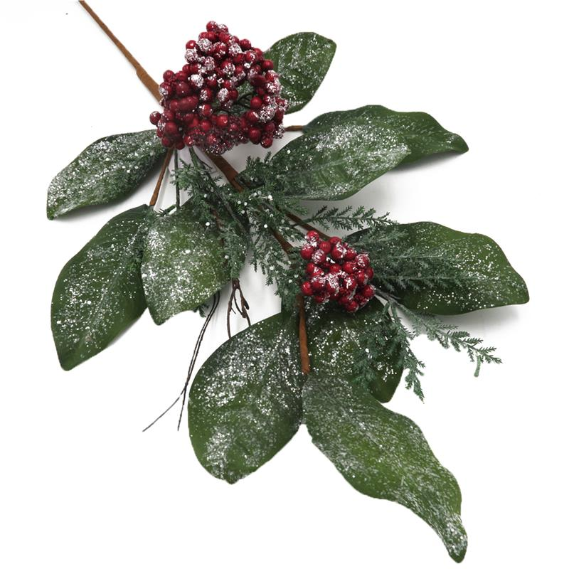 Snow Berry Spray With Green Leaves Artificial Leaves Branch For Christmas Tree Decoration Buy Artificial Leaves Branch Berry Spray Snow Spray Product On Alibaba Com