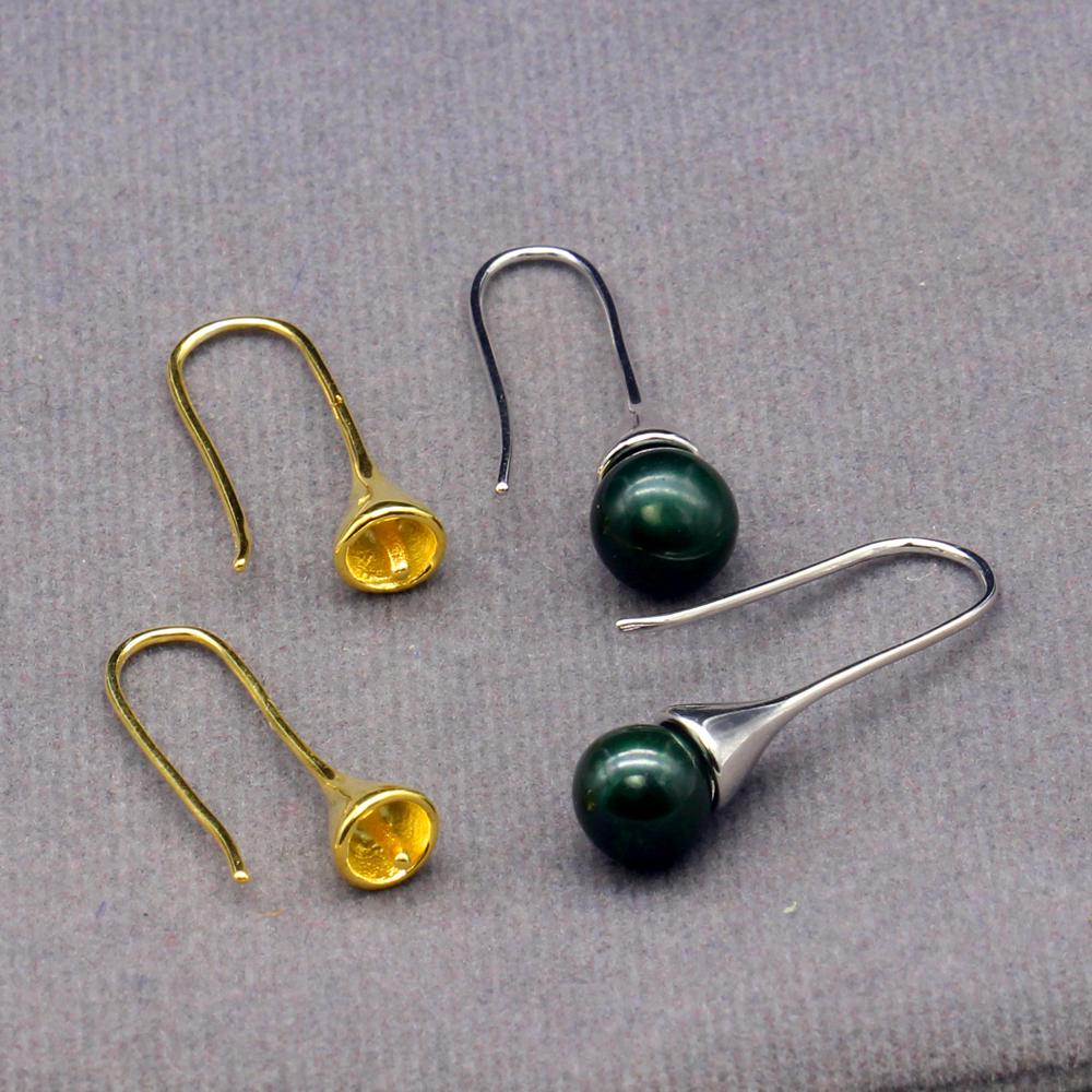 Fashion Lady 925 STERLING SILVER ROSE D/'eau Douce Pearl Ear Hook Dangle Earrings