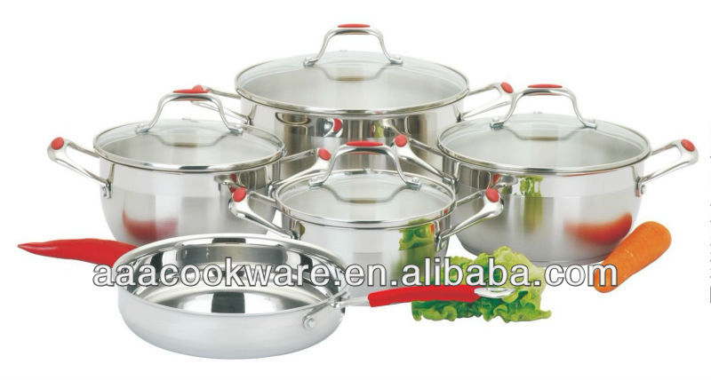 2015 New Products 9pcs High German Quality 18/8 Stainless Steel Cookware Set With Casting Handle Silicon Protector For Wholesale