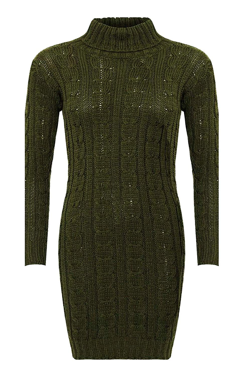 Rimi Hanger Womens Polo Neck Cable Knitted Bodycon Dress Ladies Long Sleeve Jumper Dress S, M, L