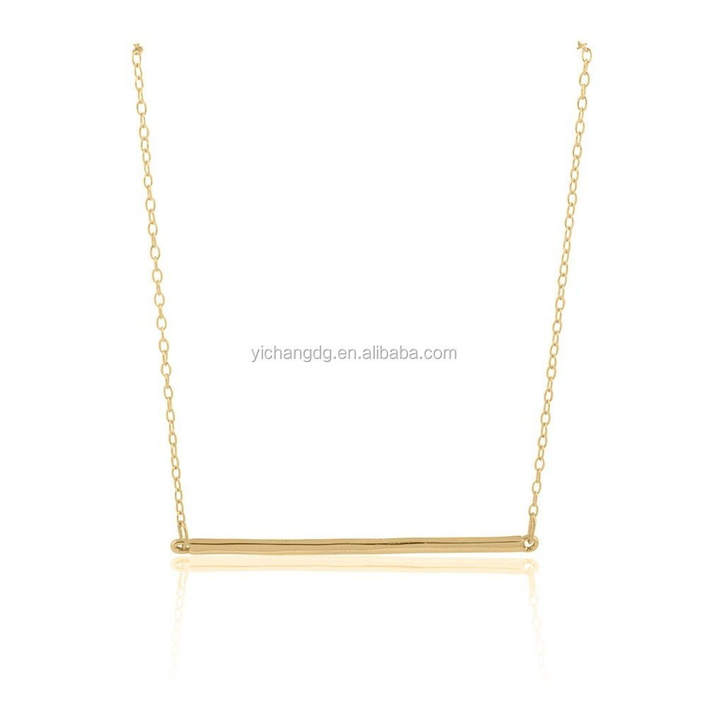 Alibaba Website Wholesale Double-faced Shinny Finished Stainless Steel Gold Bar Fashion Necklace