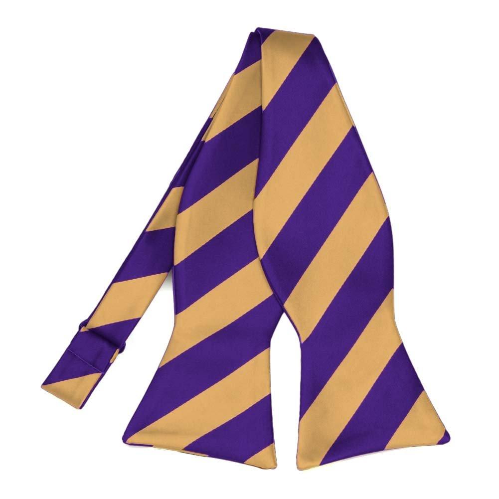 TieMart Dark Purple and Honey Gold Striped Self-Tie Bow Tie