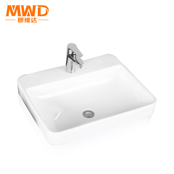 medium size countertop mounting ceramic hand wash sink with single faucet install hole - Hand Wash Sink
