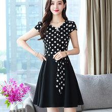 2020 винтажное элегантное шифоновое мини-платье в черный горошек в стиле бохо, летнее сексуальное пляжное платье в полоску размера плюс, женс...(Китай)