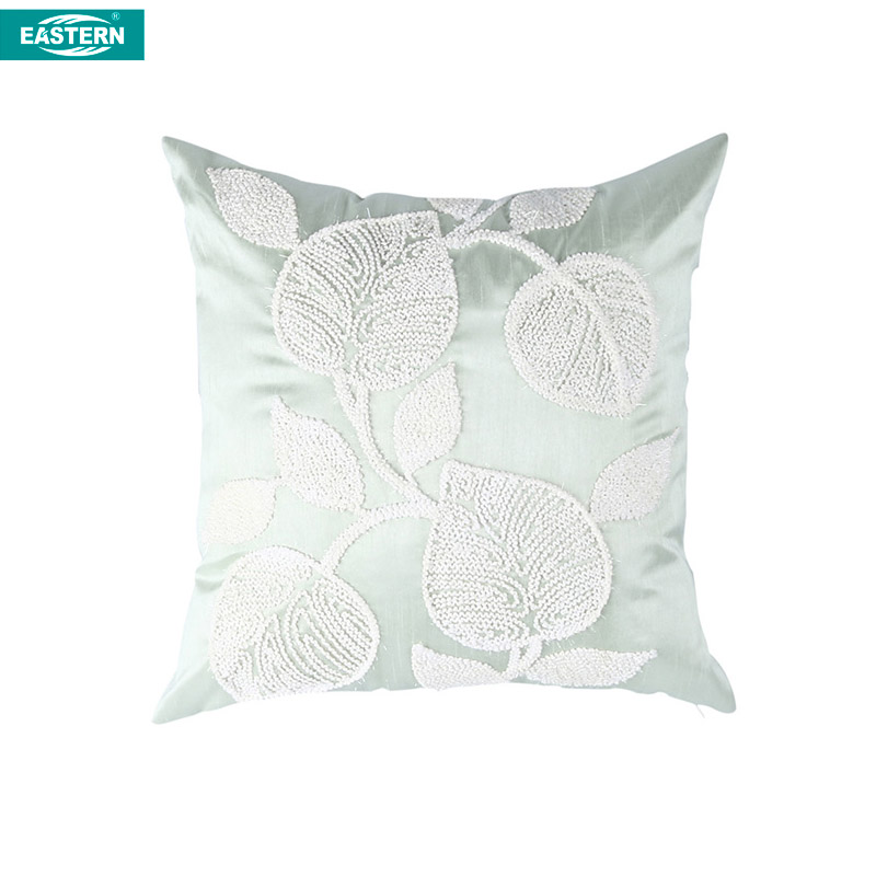 Leaf and flower design cording embroidery custom cushion cover square pillow cases