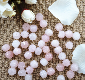 Natural rose quartz pumpkin shaped beads on best wholesale for jewelry making