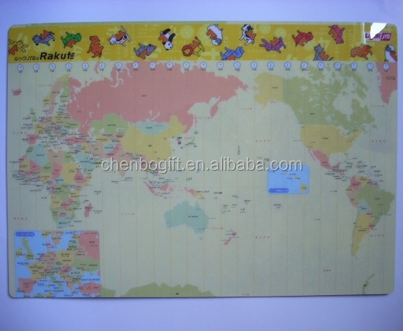 Custom made pvc map placemat, pp desk mat, pvc plastic eva foam placemat