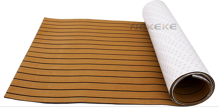New Fashion Brown Boat Decking Sheet 94.5 X 35.4 Inch 6MM Thick Non-Skid EVA Foam Teak Decking Self-Adhesive Yacht Deck Pad mat