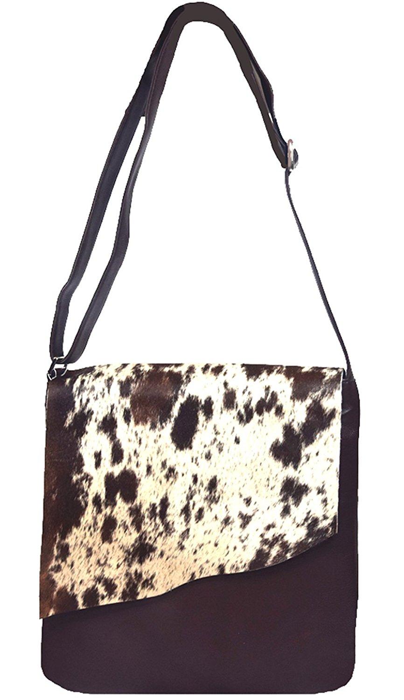 Get Quotations ·  Gloria  Dark Chocolate and White 100% Leather and Genuine  Haircalf Shoulder Handbag   a12e178217527