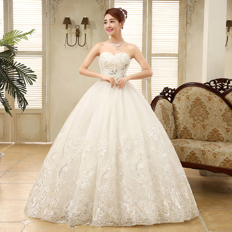 Wedding Gown Korean Style: 2015 New Arrive Floor Length Large Size Ball Gown Wedding