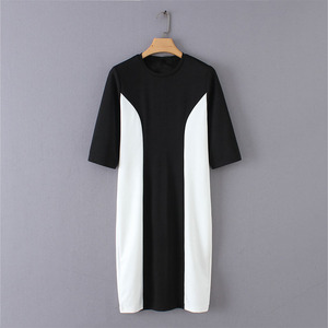 O neck short sleeve slim fit design dress office women black and white patchwork style workwear