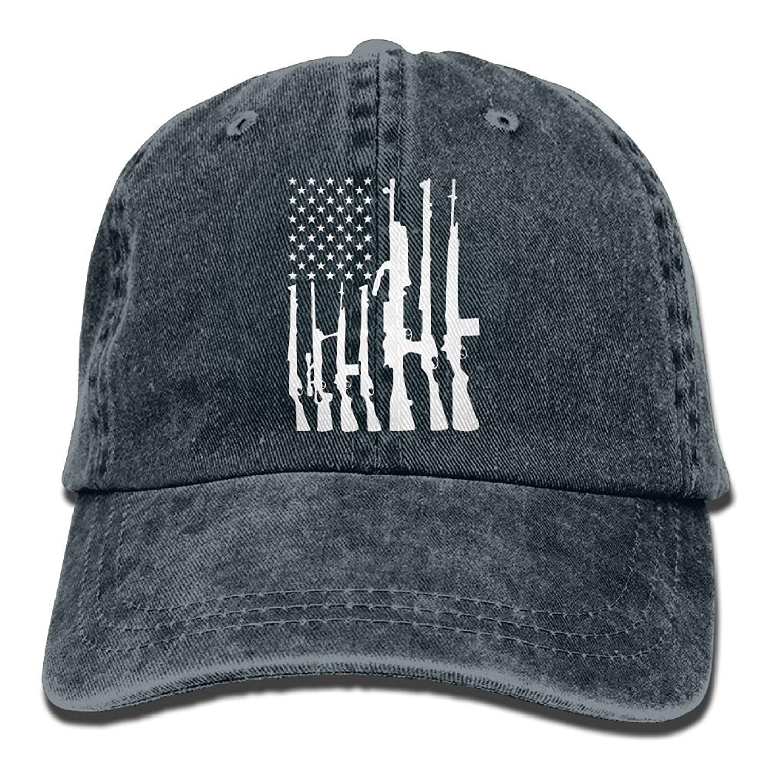 Enpengd Never Disarm Guns USA Flag Newest Men & Women Adjustable Cowboy Cotton Baseball Caps Navy