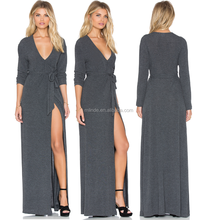 long sleeve women maxi wrap dress in charcoal gray long wrap dress with self fabric sash for ladies