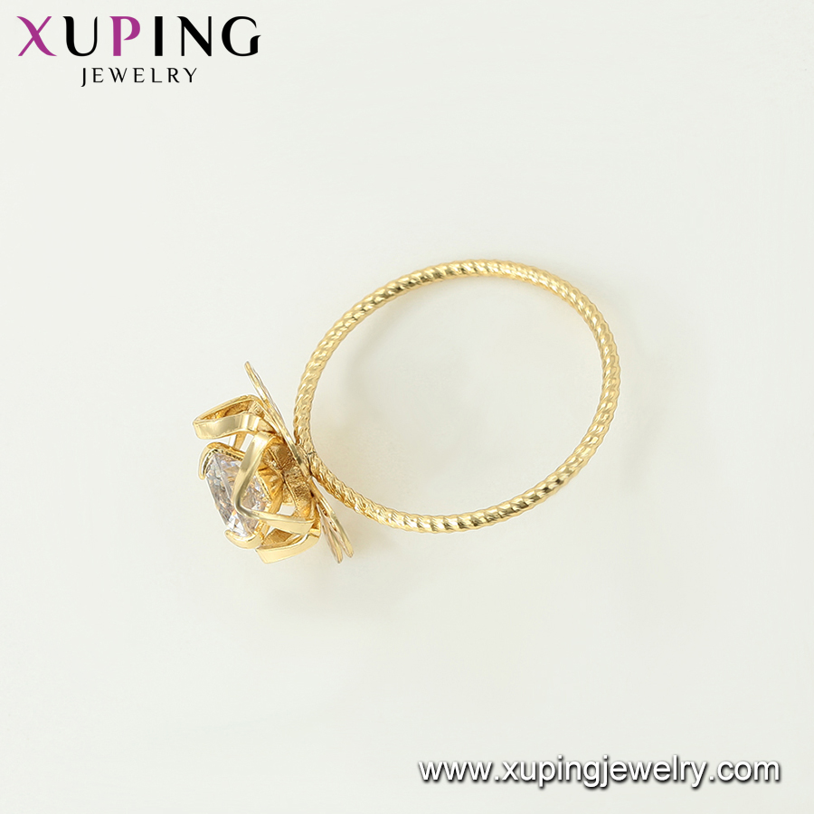 15662 xuping latest designs special flower 14k gold jewelry ring white stone ring for girls