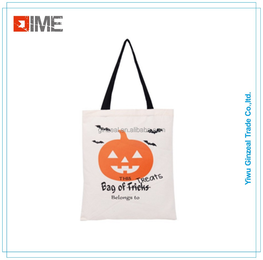 Hot Sales Promotional Natural Full Color Halloween Cotton Canvas Bag Shopping Tote Bag