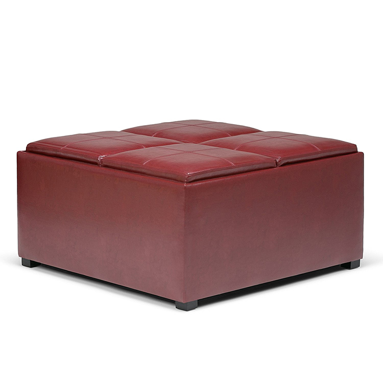 Coffee Table 4 Serving Trays square red storage ottoman