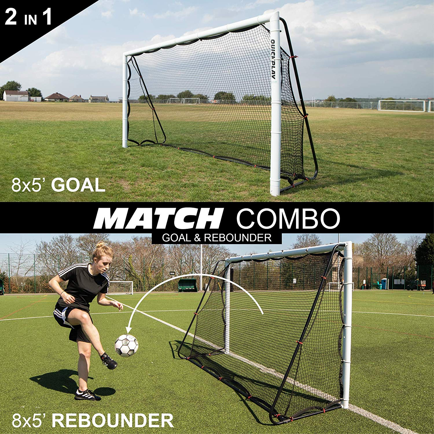 8e058b210 Get Quotations · QuickPlay 2in1 Soccer Goal + Rebounder   Use as 8x5' Goal  from The Front OR