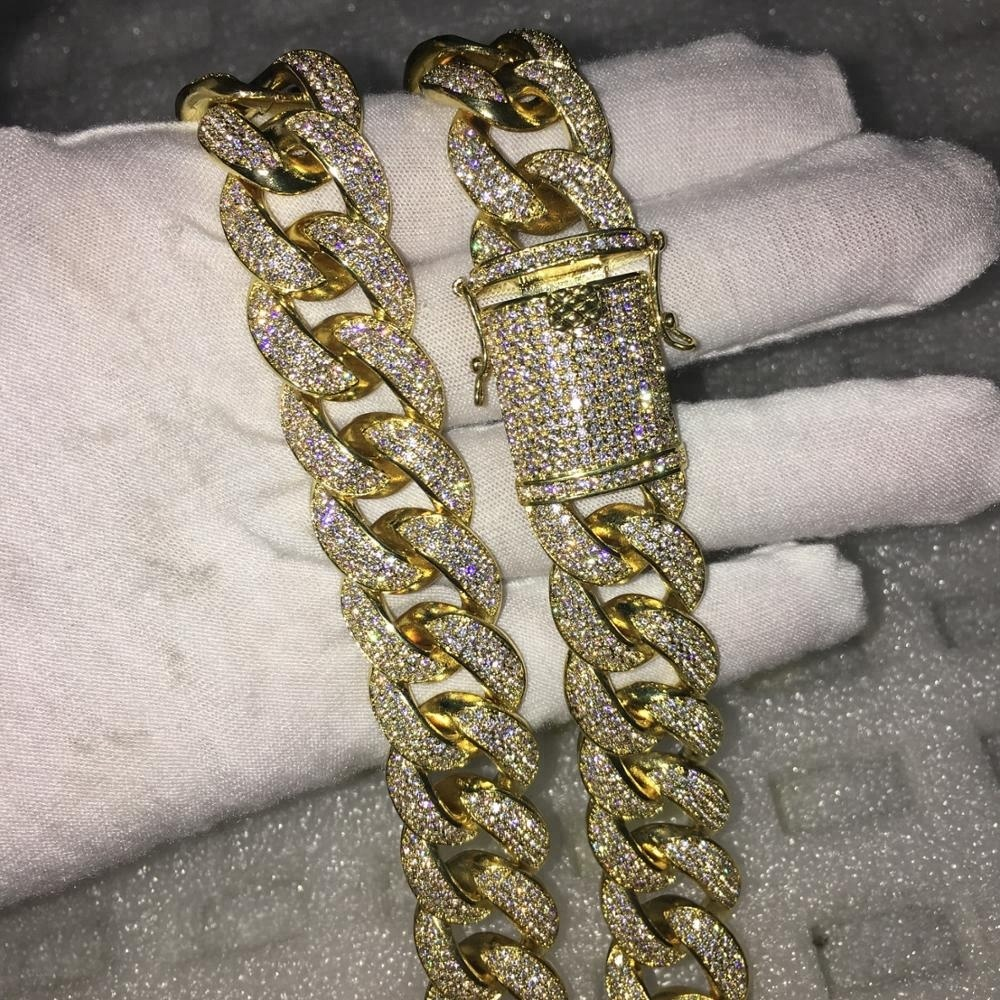 New 14k gold chain 18MM heavy iced out Miami Cuban link chain design for men