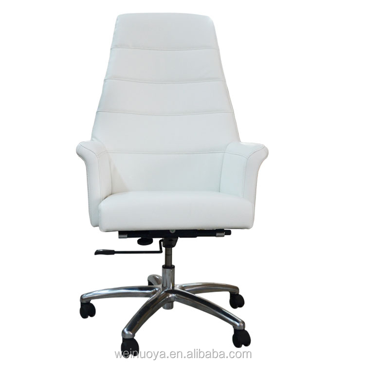 White Leather Adjustable Swivel Chair Executive and Manager Office Chair