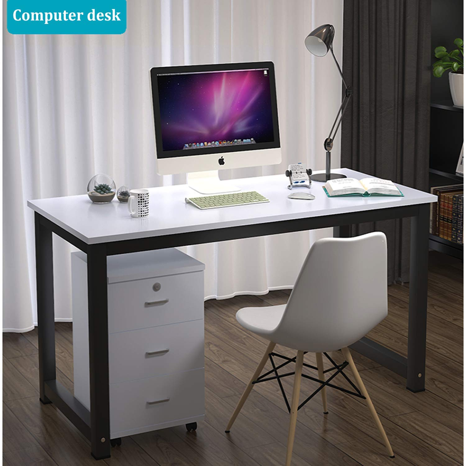 "Long World 47"" Modern Simple Style Computer Table Study Writing Desk Office Desk Rectangular Dining Table PC Desk Laptop Table Small Desk Gaming Desk Workstation Home Office Wood (White & Black Leg)"