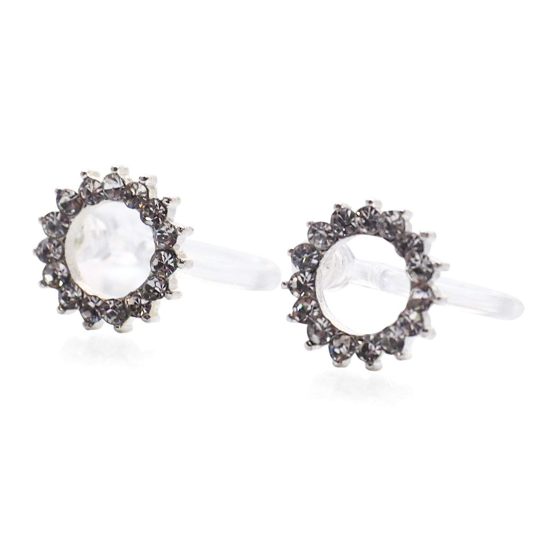 Miyabi Grace Women's Comfortable Modern Minimalist Hoop Simple Rhinestone Crystal Invisible Clip On Stud Earrings Silver tone