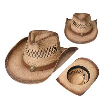 bb4d11a48e751 Men s Raffia Straw Cowboy Hat Mexico Sombreros Beach Sun Hat West American  Hat Carbonization Hollowed