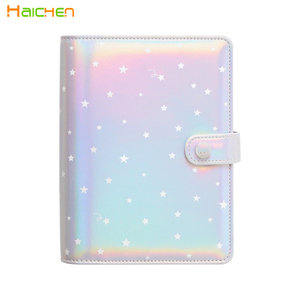 Holographic laser PU agenda with 6 hole ring binder customised design diary
