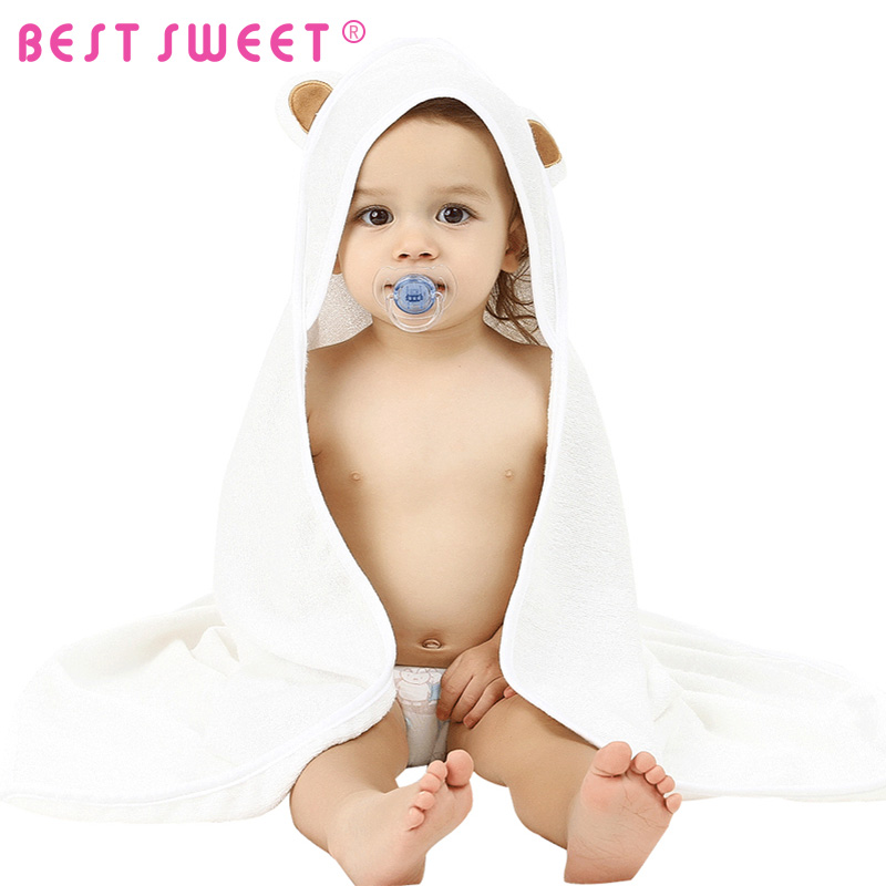 plain white color Bamboo Hooded Baby Towel With ear