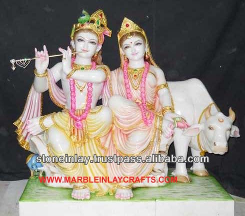 Marble Radha Krishna Statue with Cow