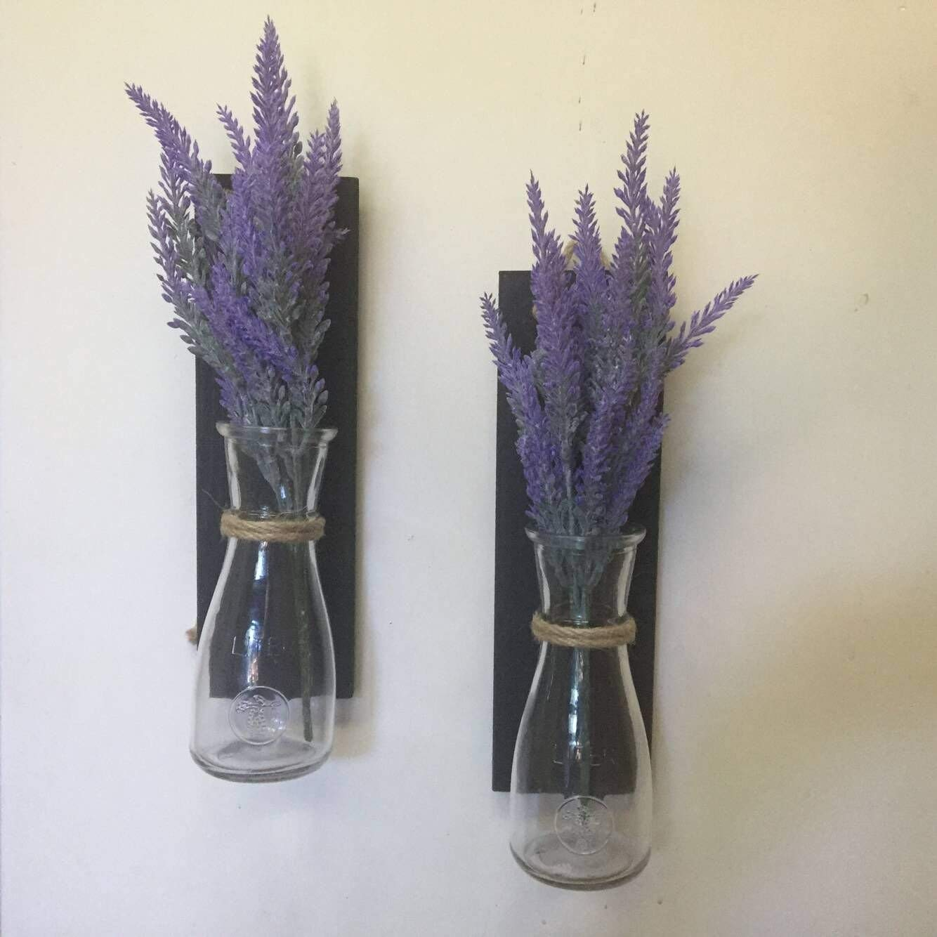 Rustic Wall Sconce, Set of 2 Hanging Mason Jar Sconces with Lavender Rustic Wall Decor Hanging Mason Jar Sconce, Black Wood Mason Jar Decor