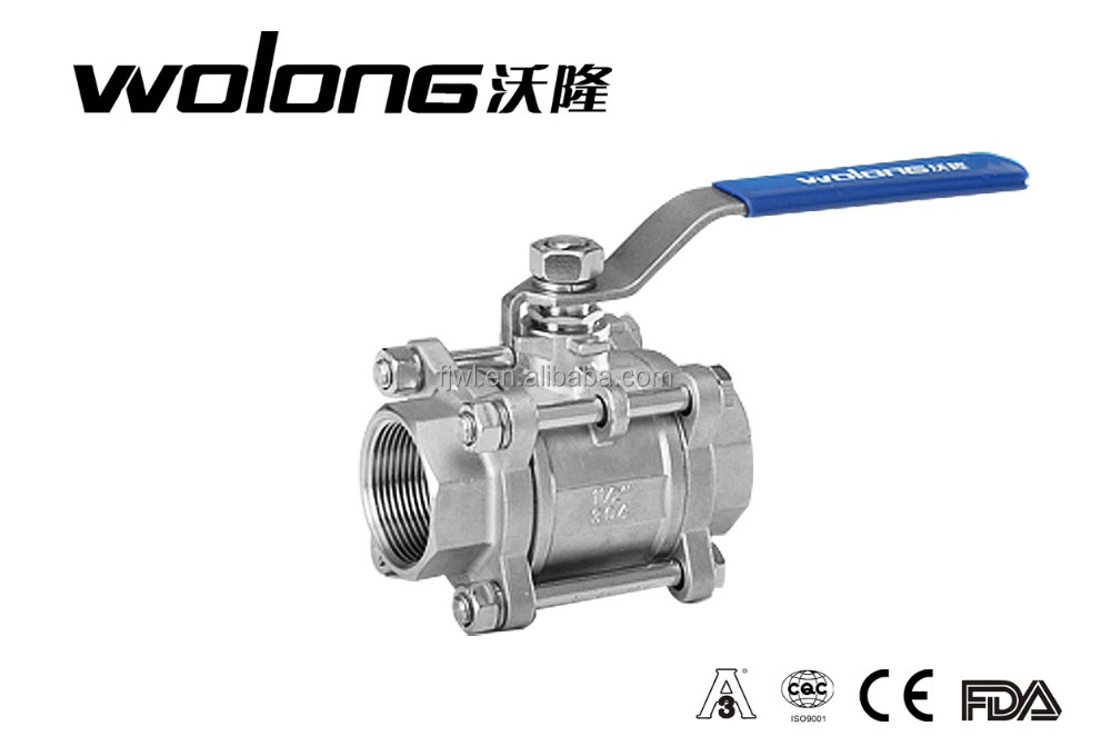 Stainless steel 3PC thread full bore ball valve 3/8''