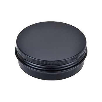 custom wholesale 2oz round cosmetic cream candy spice pill mint small black metal mini tin Box with screw lid jar aluminum can