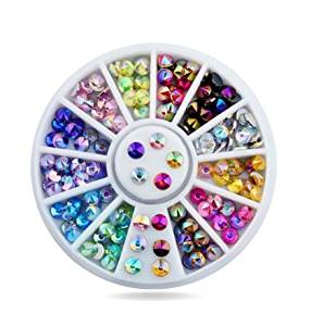 96pcs/set 4mm Colorful Sharp Crystal AB 3d Nail Rhinestone Wheel Shiny Glitter Nail Art Tips Decoration Tools