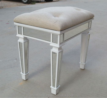 Unpholstery Button Tufted Bedroom Mirrored Stool In White Finish