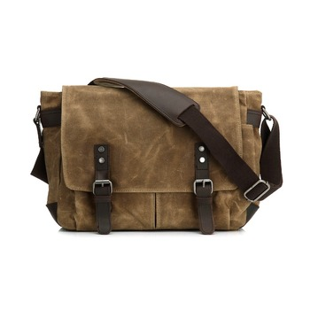 Droping Personalized Vintage Leather Trim Waxed Canvas Shoulder Messenger Bag For Men
