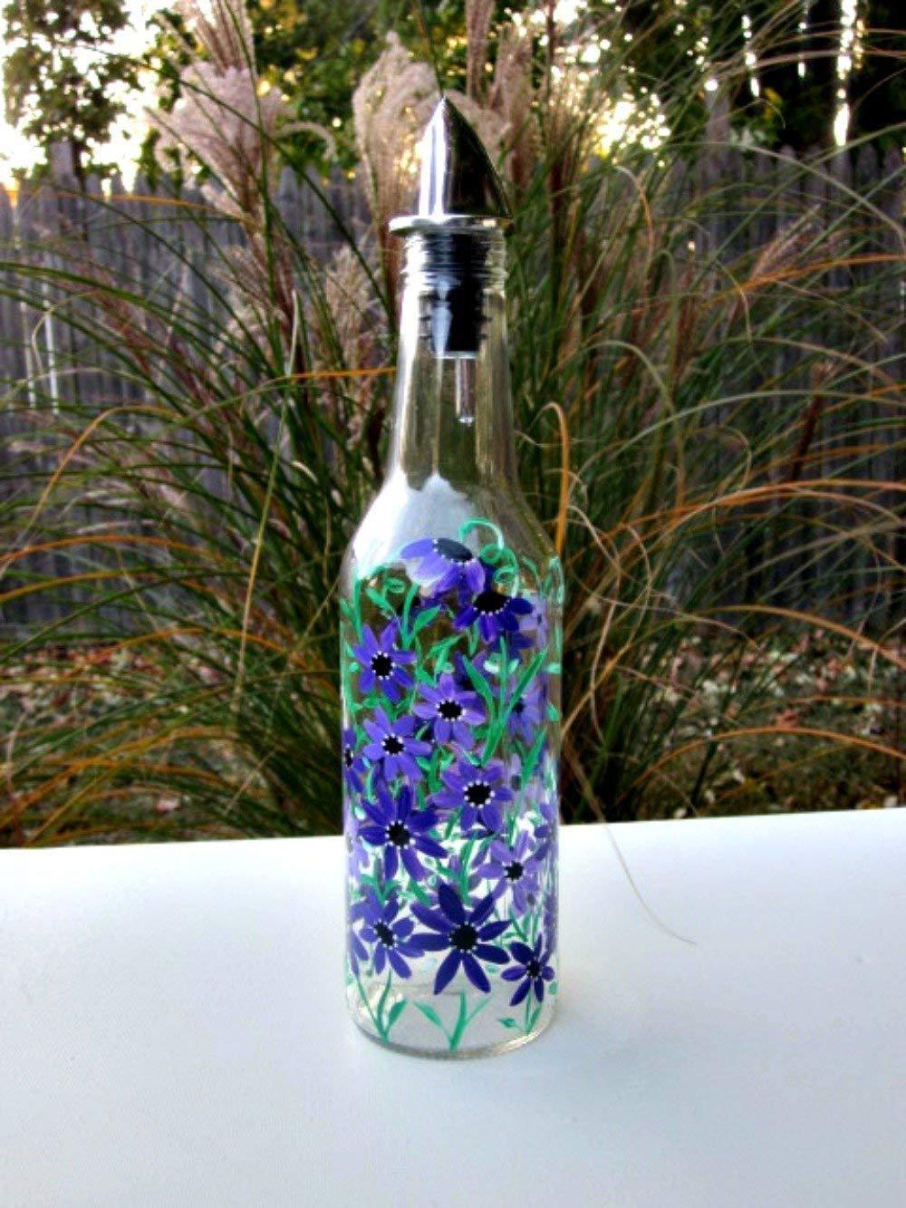 Dish Soap Dispenser, Oil and Vinegar Bottle, Hand Painted Glass Bottle, Kitchen Decoration, Purple Flowers