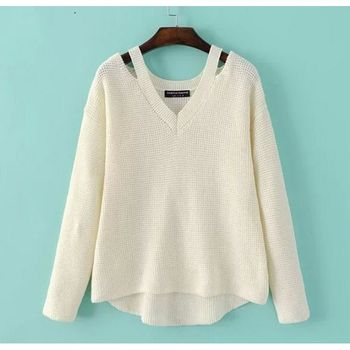 Loose Casual Knit Pullover Fancy New Design Ladies Girl Sweater