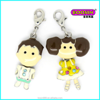 Alibaba wholesale cheap custom alloy enamel metal bulk boy and girl accent charm for bag decoration #17373