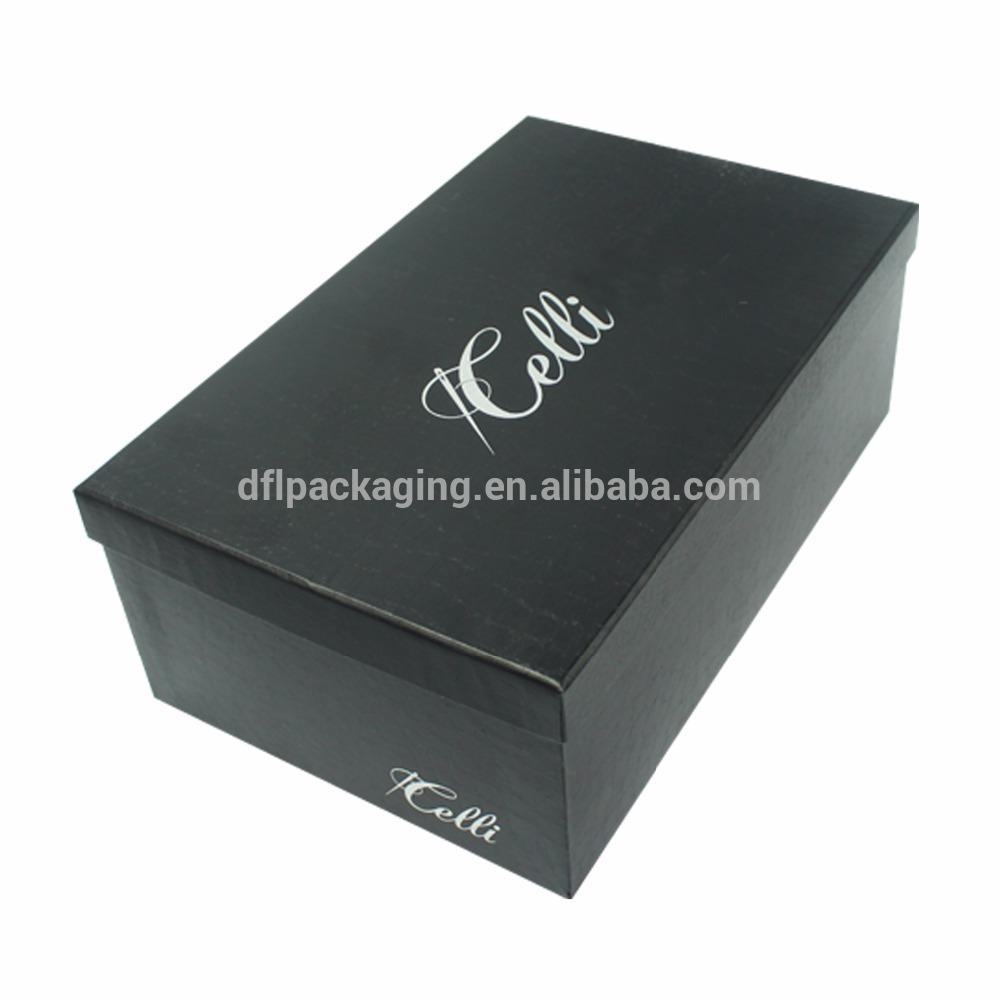 Cera papel revestido preto tampa caixa de sapato com tampa design de logotipo personalizado de papelão ondulado e caixa de embalagem sapatos de fundo