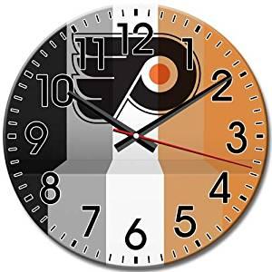 Arabic Numbers Round Wall Clock Clock Philadelphia Flyers Frameless Elegant Silent 10 Inch / 25 cm Diameter