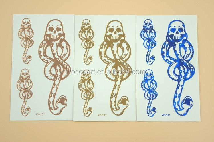 VH-151/Waterproof horror fake metallic gold snake tatto long lasting temporary tattoos