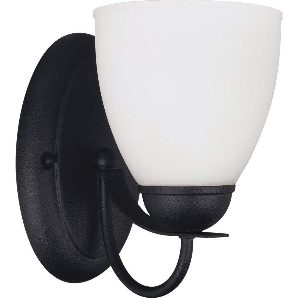 Sea Gull Lighting 44470-839 Bathroom Sconce with Satin EtchedGlass Shades, Blacksmith Finish