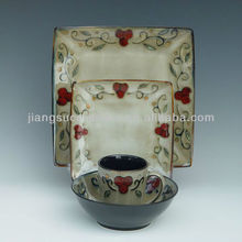 hand painting square dinner set transmutation reactive glaze stoneware dinnerware